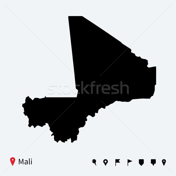 高い 詳しい ベクトル 地図 マリ ナビゲーション ストックフォト © tkacchuk