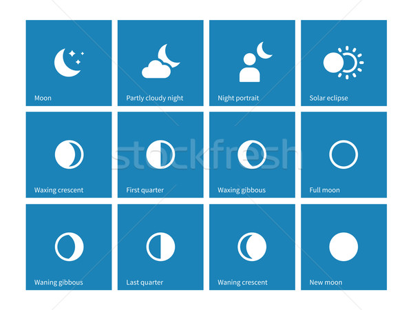 Moon lunar cycle icons on blue background. Stock photo © tkacchuk
