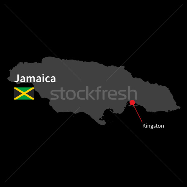 Detailed map of Jamaica and capital city Kingston with flag on black background Stock photo © tkacchuk