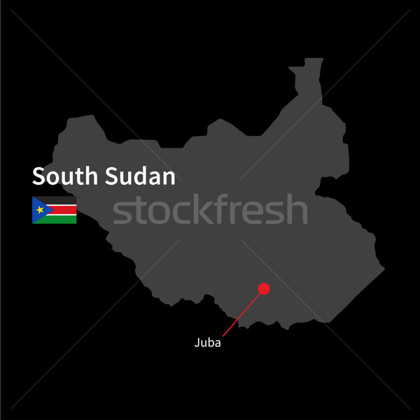 Detailed map of South Sudan and capital city Juba with flag on black background Stock photo © tkacchuk
