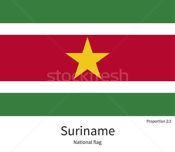 National flag of Suriname with correct proportions, element, colors Stock photo © tkacchuk