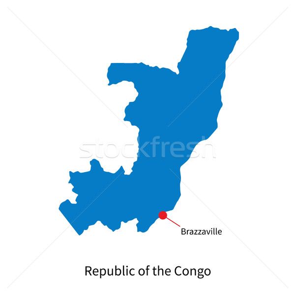 Vector map Republic of the Congo and capital city Brazzaville Stock photo © tkacchuk