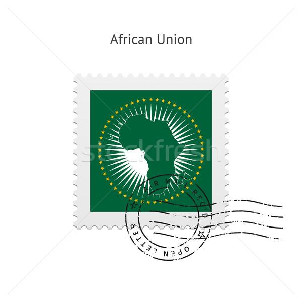 Afrikai szövetség zászló postabélyeg fehér felirat Stock fotó © tkacchuk