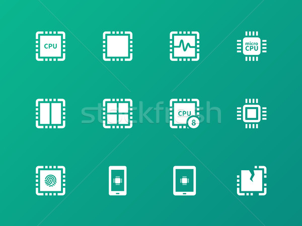 Central Processing Unit icons on green background. Stock photo © tkacchuk