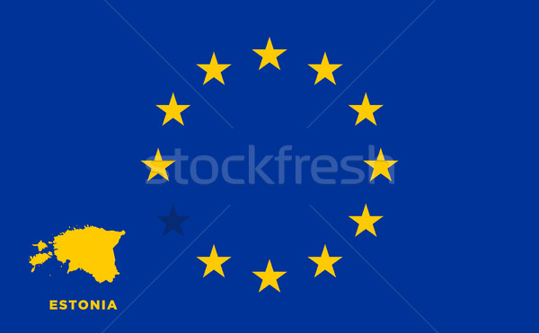 EU flag with Estonia country. European Union membership Estonia Stock photo © tkacchuk