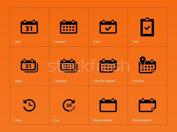 Kalender iconen oranje vergadering grafische object Stockfoto © tkacchuk