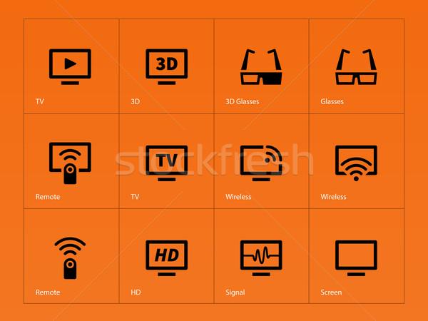 TV icons on orange background. Stock photo © tkacchuk