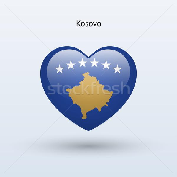 Amor Kosovo símbolo coração bandeira ícone Foto stock © tkacchuk