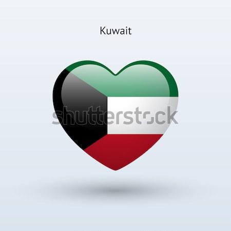 Amor Kuweit símbolo coração bandeira ícone Foto stock © tkacchuk