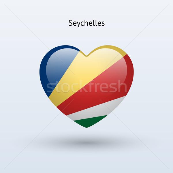 любви Сейшельские острова символ сердце флаг икона Сток-фото © tkacchuk