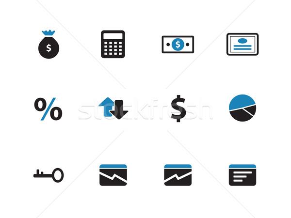 Economie iconen witte business computer glas Stockfoto © tkacchuk