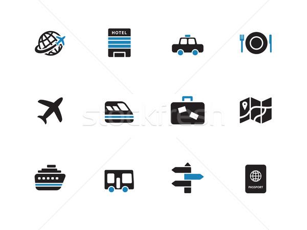 Travel duotone icons on white background. Stock photo © tkacchuk