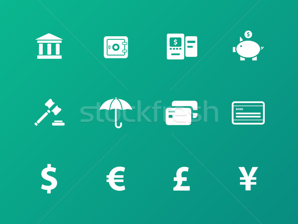Banking icons on green background. Stock photo © tkacchuk