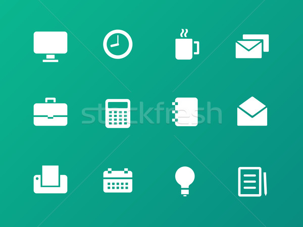 Business icons on green background. Stock photo © tkacchuk