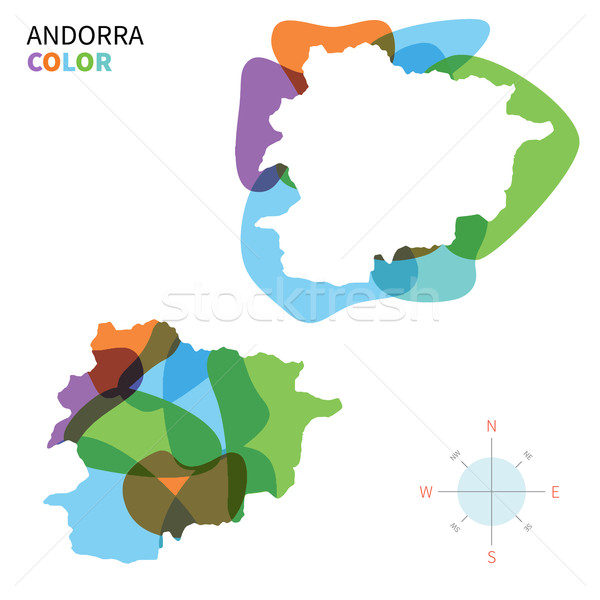 Abstract vector color map of Andorra with transparent paint effect. Stock photo © tkacchuk