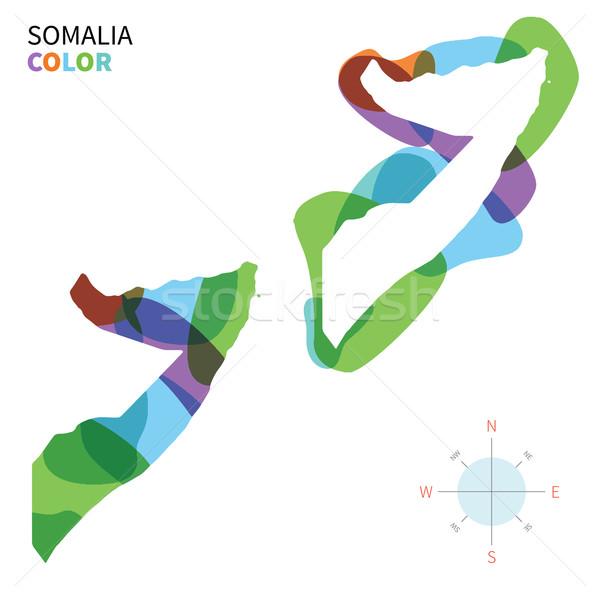 抽象的な ベクトル 色 地図 ソマリア 透明な ストックフォト © tkacchuk