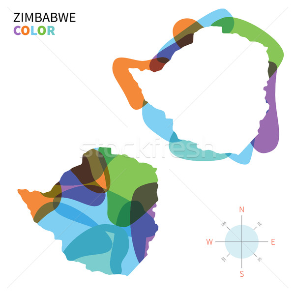 Résumé vecteur couleur carte Zimbabwe transparent Photo stock © tkacchuk