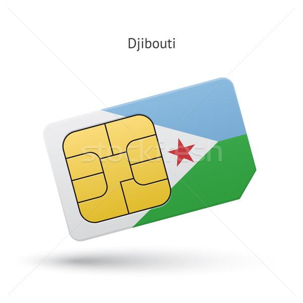 Dżibuti telefonu komórkowego karty banderą działalności projektu Zdjęcia stock © tkacchuk