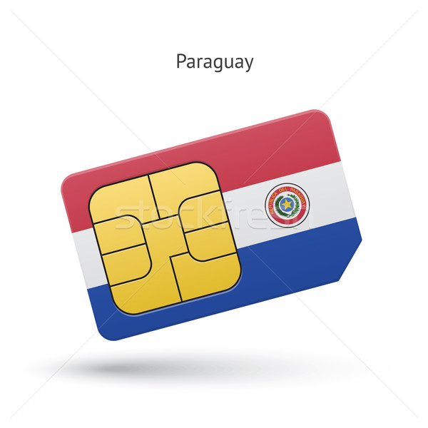 Stock photo: Paraguay mobile phone sim card with flag.