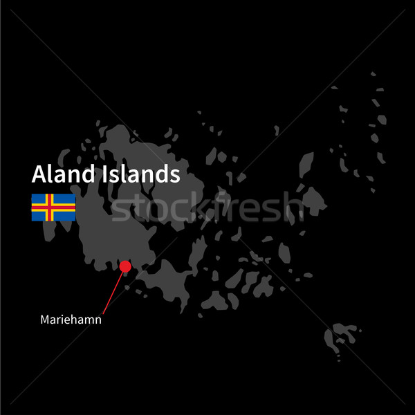 Detailed map of Aland Islands and capital city Mariehamn with flag on black background Stock photo © tkacchuk