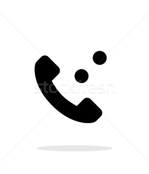 Telefonbeszélgetés egyszerű ikon fehér technológia háló Stock fotó © tkacchuk
