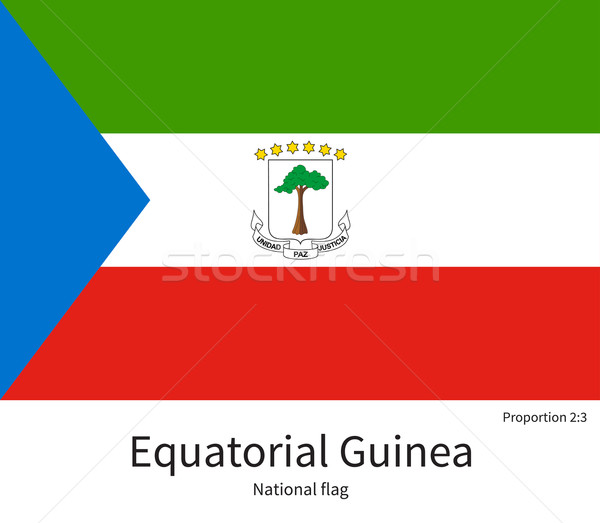 National flag of Equatorial Guinea with correct proportions, element, colors Stock photo © tkacchuk