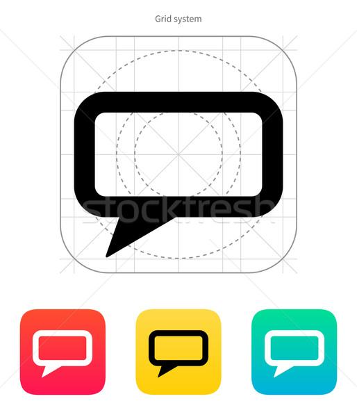Dikdörtgen biçiminde kabarcık ikon beyaz dizayn konuşmak Stok fotoğraf © tkacchuk