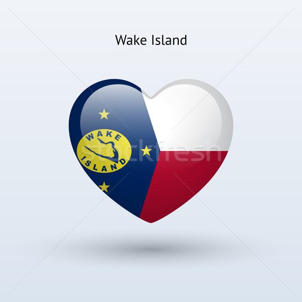 Love Wake Island symbol. Heart flag icon. Stock photo © tkacchuk