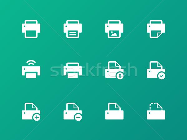 Printer icons on green background. Stock photo © tkacchuk