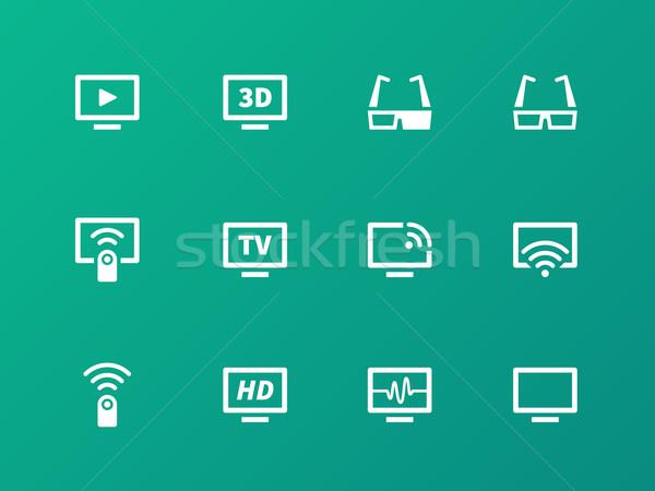 TV icons on green background. Vector illustration. Stock photo © tkacchuk