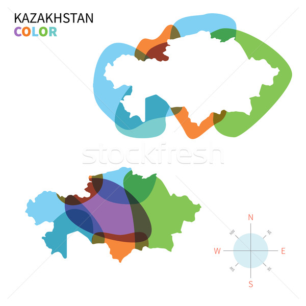 Abstract vector kleur kaart Kazachstan transparant Stockfoto © tkacchuk