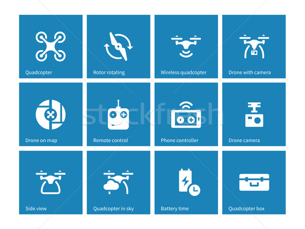 Quadrocopter icons on blue background. Stock photo © tkacchuk