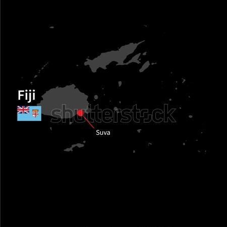 Dettagliato mappa Fiji città bandiera nero Foto d'archivio © tkacchuk