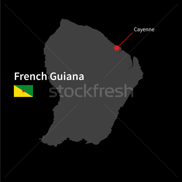 Detailed map of French Guiana and capital city Cayenne with flag on black background Stock photo © tkacchuk