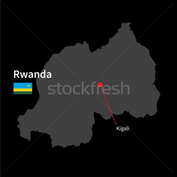 подробный карта Руанда город флаг черный Сток-фото © tkacchuk