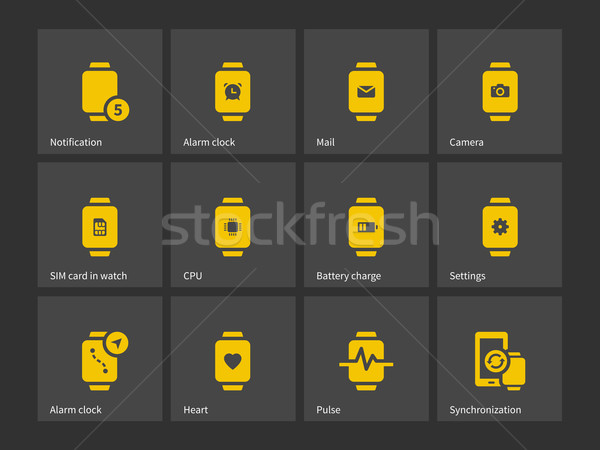 Collection of smart watch alarm clock settings icons. Stock photo © tkacchuk