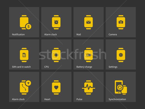 Gyűjtemény okos óra ébresztőóra beállítások ikonok Stock fotó © tkacchuk