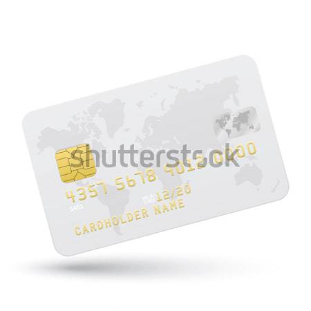Credit card with Canary Islands flag background for bank, presentations and business. Isolated on wh Stock photo © tkacchuk