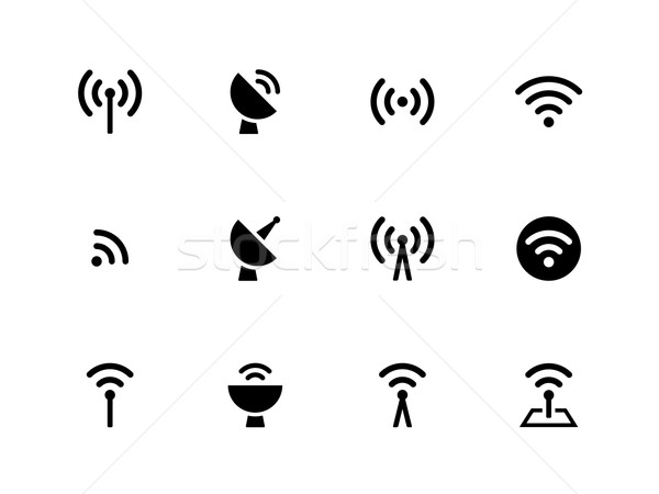 Radio Tower icons on white background. Stock photo © tkacchuk