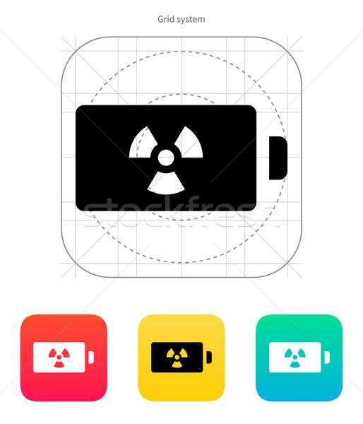 átomo bateria ícone branco assinar verde Foto stock © tkacchuk