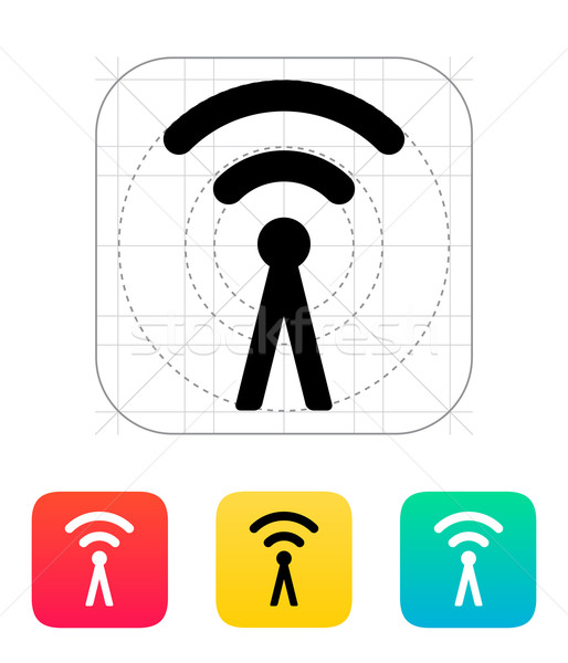 Stock photo: Antenna broadcasting radio signal icon.