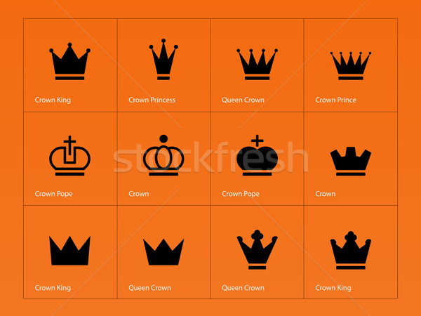 Kroon iconen oranje silhouet hoed sieraden Stockfoto © tkacchuk