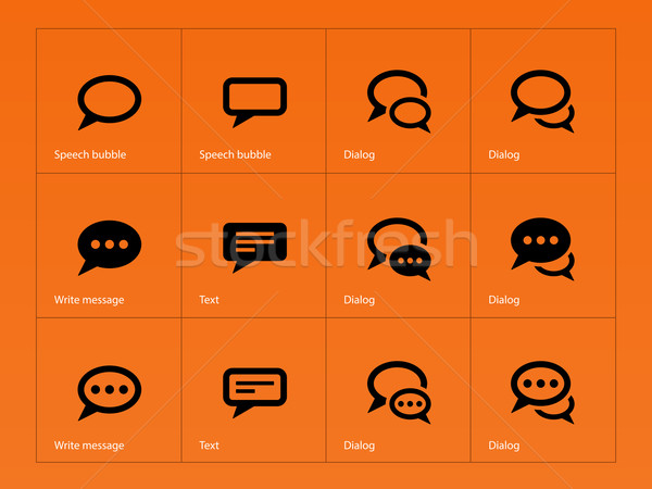 Stock photo: Speech bubble icons on orange background.