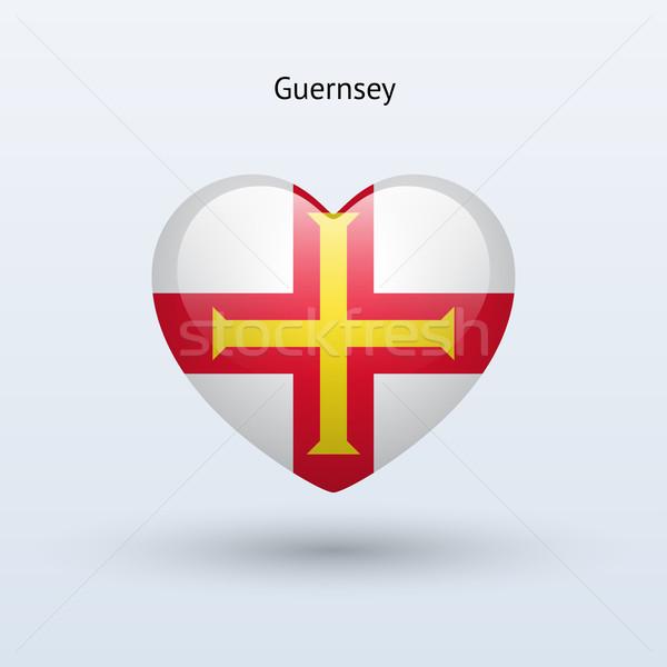 Love Guernsey symbol. Heart flag icon. Stock photo © tkacchuk
