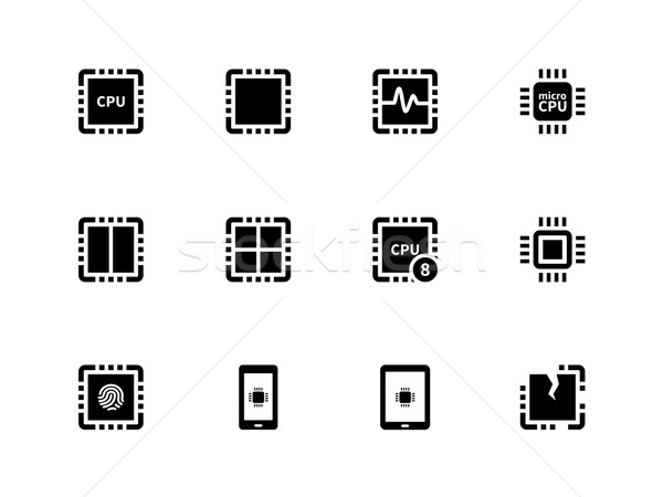 CPU icons set. (central processing unit). Stock photo © tkacchuk
