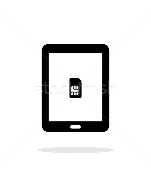 Tablet with SIM simple icon on white background. Stock photo © tkacchuk