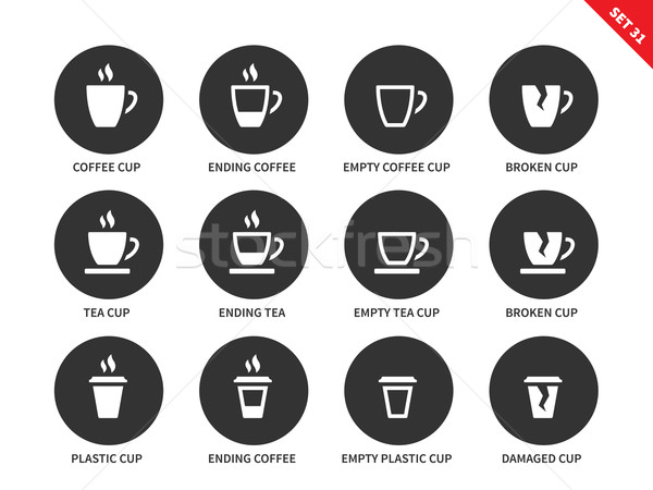 Coffee and tea cups icons on white background Stock photo © tkacchuk