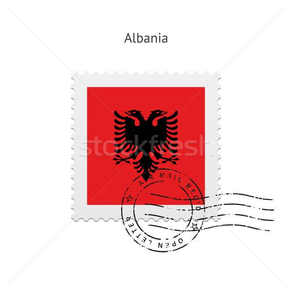 Албания флаг почтовая марка белый знак письме Сток-фото © tkacchuk