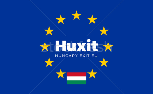 Flag of Hungary on European Union. Huxit - Hungary Exit EU Europ Stock photo © tkacchuk