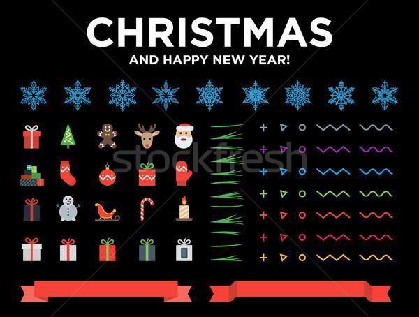 Stok fotoğraf: Noel · happy · new · year · modern · malzeme · dizayn · elemanları